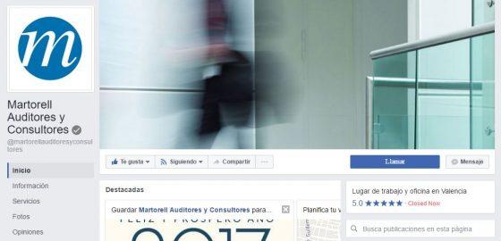 Facebook verifica la página de Martorell Auditores y Consultores, lo que refuerza la importancia de este canal corporativo.
